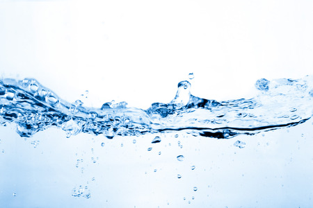 water spray: Water and air bubbles over white  Stock Photo