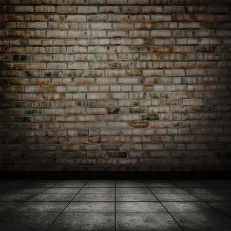 grime: Dark room with tile floor and brick wall