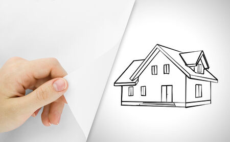 house sketch: Blank sheet of paper with hand opening it  Over house sketch  Stock Photo