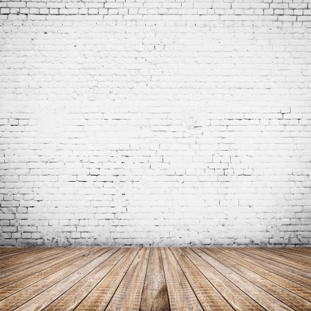 room interior vintage with white brick wall and wood floor  Stock Photo