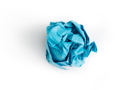 crumpled paper: Blue crumpled paper ball over white background