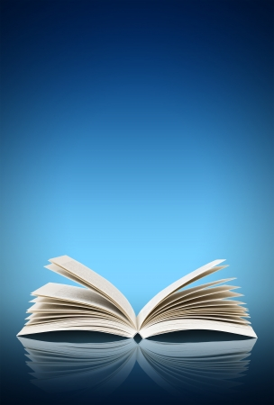 black gods: Open book isolated on blue background Stock Photo