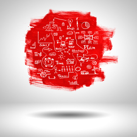 background abstracts: surface blank red paint with sketches on grey background Stock Photo