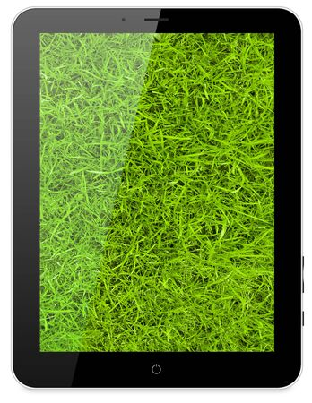 Black abstract tablet pc on white background, 3d render. Green grass on a background photo