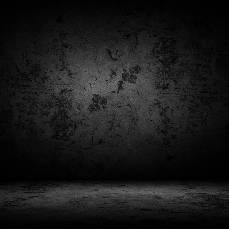 Dark room with tile floor and wall background Stock Photo