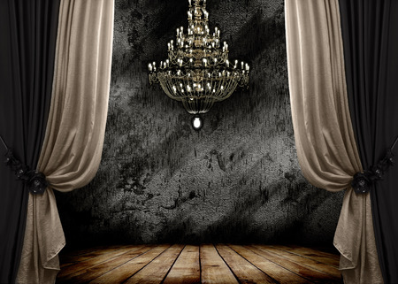 vintage backgrounds: Image of grunge dark room interior with wood floor and chandelier  Background Stock Photo