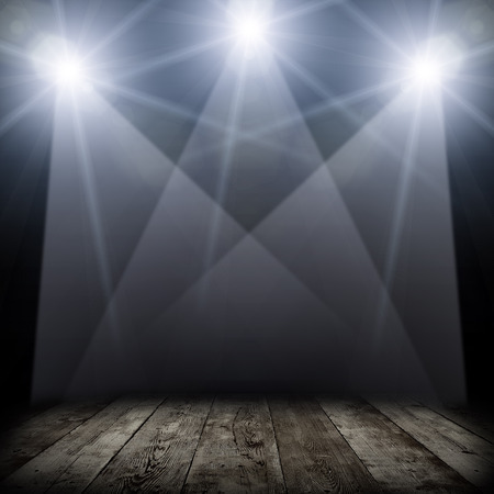 light show: ilustration of concert spot lighting over dark background and wood floor