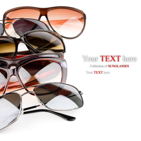 eyeglasses: Collection of sunglasses on white  Stock Photo