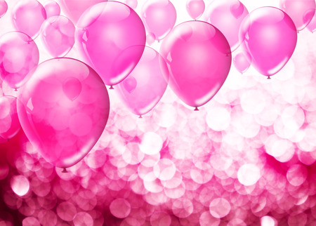 text pink: Pink birthday balloons over abstract background with place for text Stock Photo