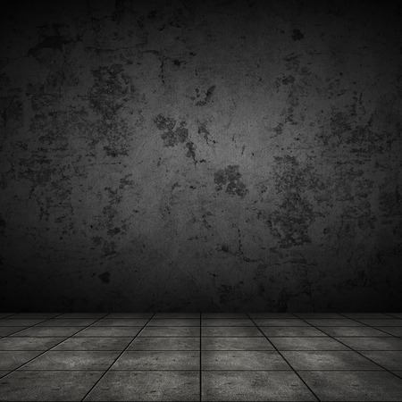 abandon: Dark room with tile floor and black wall background Stock Photo