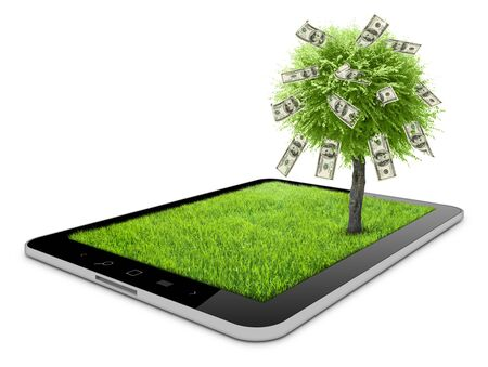 one tablet on the white backgrounds with grass field and money tree on it  photo
