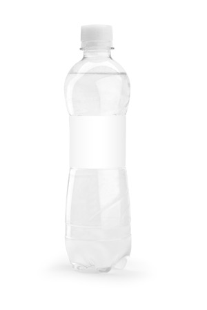 One bottle with blank paper with water isolated on white background