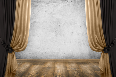 telon de teatro: habitación interior de la vendimia con las cortinas y la pared de fondo blanco