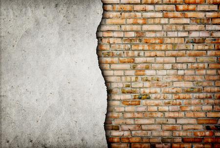 paredes de ladrillos: de ladrillo agrietada pared de fondo Foto de archivo