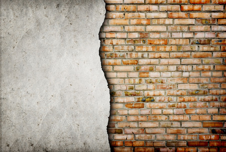 hole in wall: old cracked brick wall background