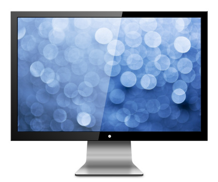 visual screen: Computer Monitor with abstract blur screen. Isolated on white background Stock Photo