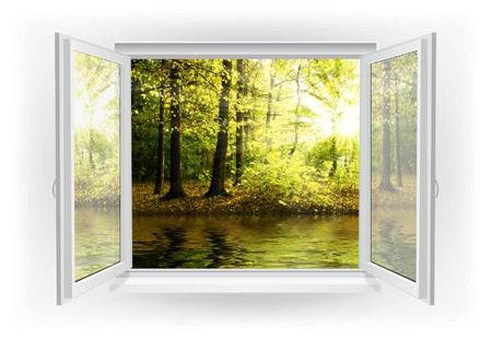window view: Open window with forest on a background Stock Photo