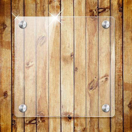 Glass framework on wooden texture background photo