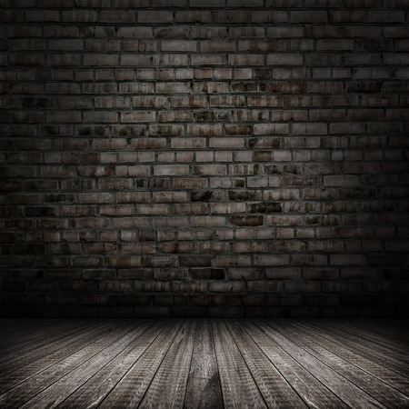 cement texture: Dark room with tile floor and brick wall background