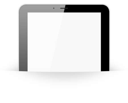 Black tablet pc in paper pocket on white background, 3d render. photo