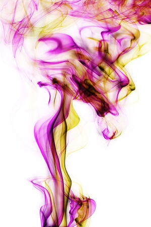 Abstract pink and yellow smoke on white background