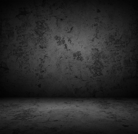 abandoned room: Dark concrete wall background Stock Photo