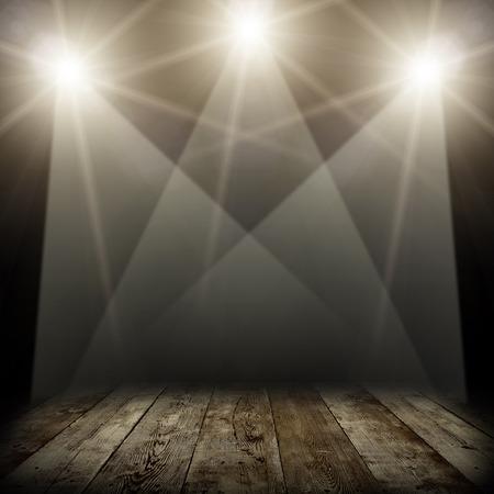illustration of concert spot lighting over dark and wood floor illustration