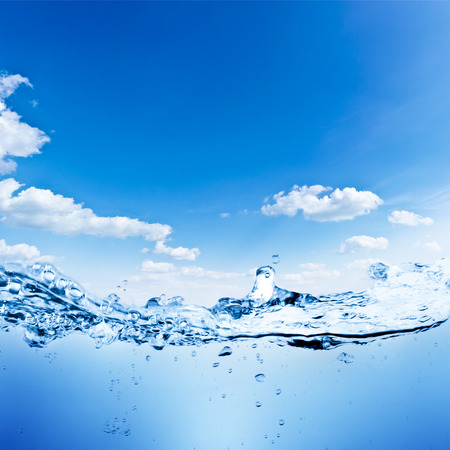 Water and air bubbles over sky