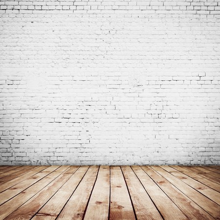 crack wall: room interior vintage with white brick wall and wood floor background
