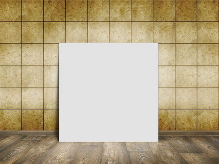 mosaic room, gold background with wood floor and white blank placard photo
