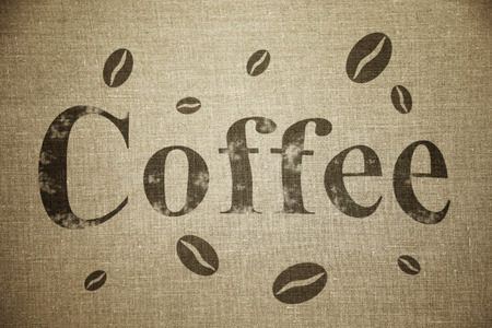 sackcloth: Word Coffee written on old sack background