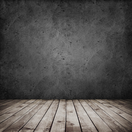 room interior vintage with dark grunge wall and wood floor background Stock Photo