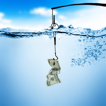 Fishing line and hook with dollar bill underwater background photo