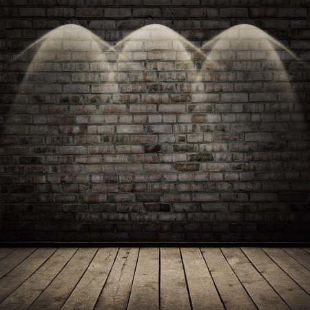 木材の床、レンガ壁の背景と暗い部屋 写真素材
