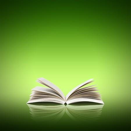 open book: Abra el libro aislado en el fondo verde
