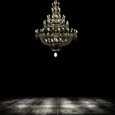 Image of grunge dark room interior with chandelier. Background