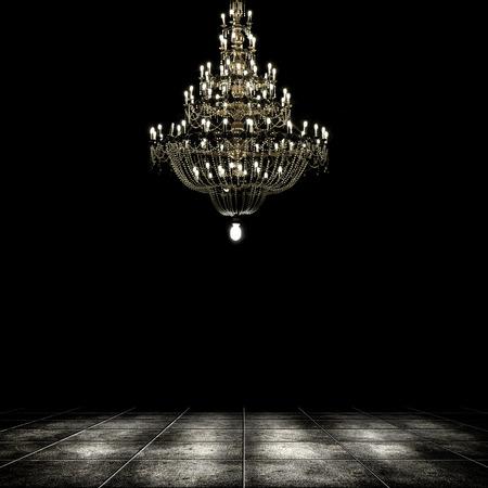 Afbeelding van grunge donkere kamer interieur met kroonluchter. Achtergrond