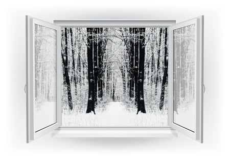 Open window with winter snow forest on a background photo