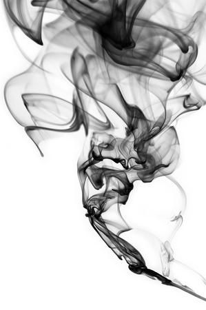 Abstract black smoke swirls over white background Stock Photo