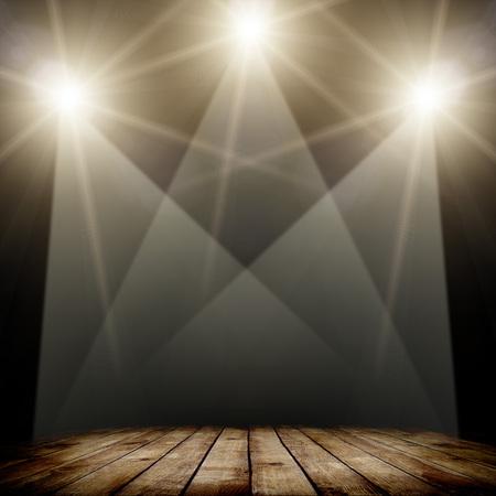 ilustration of concert spot lighting over dark background and wood floor photo