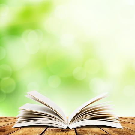 open book: Abra el libro en los tablones de madera sobre fondo claro abstracto