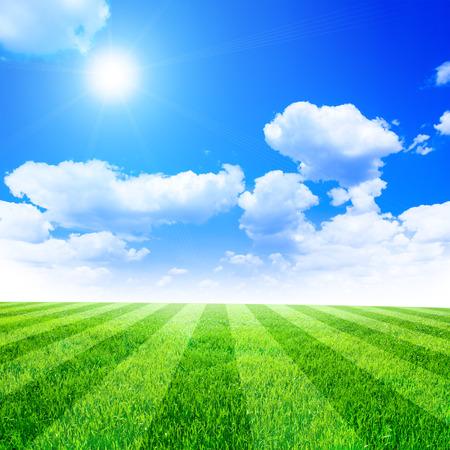 rayas de colores: Campo de f�tbol verde bajo el cielo azul de fondo Foto de archivo