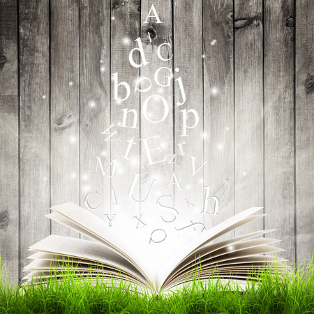 Open book with flying letters in green grass over wooden background. Magic book