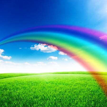 field and sky: Campo verde bajo el cielo azul con el sol y el arco iris. La naturaleza de fondo Belleza