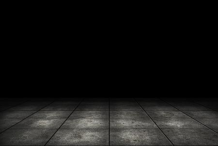 Dark room with tile floor background