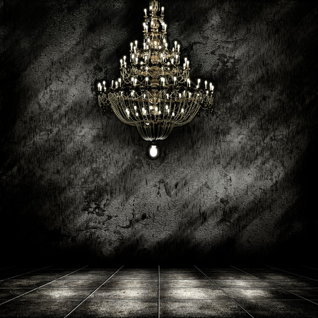 crystals: Image of grunge dark room interior with chandelier. Background