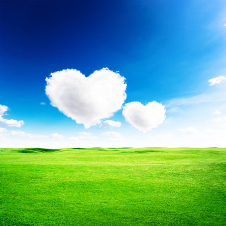 heart under: Green field under blue sky with two heart shape on it. Love concept