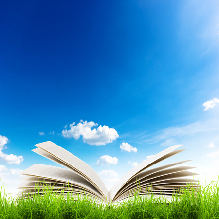 book reading: Open book in green grass over bluesky. Magic book