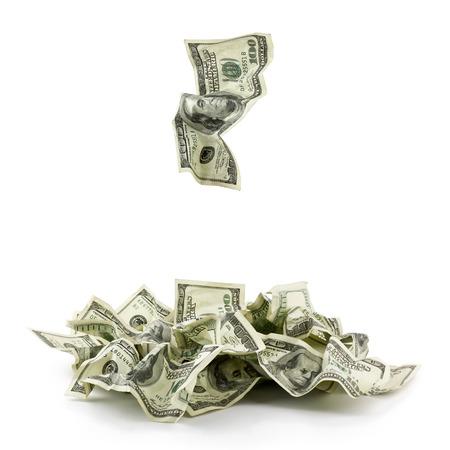 money pile: Pile of crumpled money dollar bills overs white background