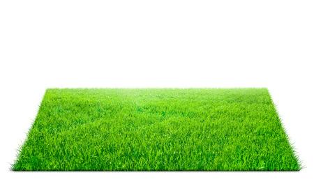 Kwadraat van groen gras veld op een witte achtergrond